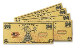2020 100 Milligram 24kt Gold Aurum Liberty Foil Note 5-Pack