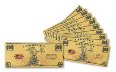 2020 100 Milligram 24kt Gold Aurum Liberty Foil Note 10-Pack