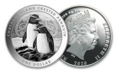 2020 New Zealand $1 1-oz Silver Chatham Island Crested Penguin BU