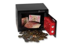 Safe With Mixed Lot of World Coins & Banknotes