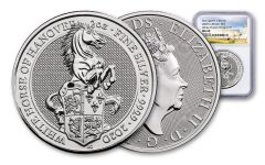 2020 Great Britain £5 2-oz Silver Queen's Beasts White Horse of Hanover NGC MS69
