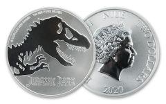 2020 Niue $2 1-oz Silver Jurassic Park BU