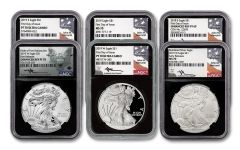 2019 $1 1-oz Silver Eagle 6-pc Type Set NGC MS70-PF70-PF69 w/Black Core & Mercanti Signature