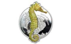 2020 Solomon Islands $2 1-oz Silver Giants of the Galapagos Seahorse Reverse Proof