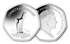 2020 South Georgia & the South Sandwich Islands 50 Pence 8-gm CuNi Chinstrap Penguin Colorized BU