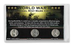 1942–1945-PDS Jefferson War Nickel 3-Coin Mint Mark Set