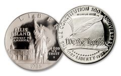1986–1987 $1 Silver Statue of Liberty/U.S. Constitution 2-pc Set