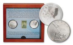 2005 U.S. Marine Corps Silver Dollar BU w/Stamp & Iwo Jima Sand