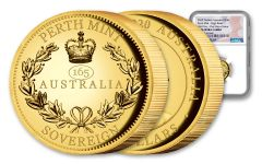 2020 Australia $50 Gold Piedfort Sovereign High Relief NGC PF70UC First Day of Issue w/Flag Label