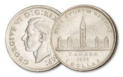 CANADA 1939 $1 PARLIAMENT SILVER VF/XF