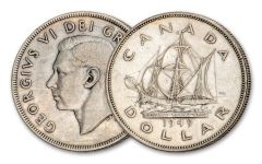 CANADA 1949 $1 CABOT SHIP SILVER VF/XF