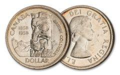 1958 Canada Totem Pole Silver Dollar VF–XF