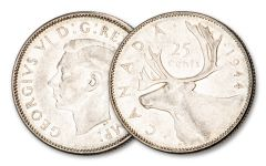 1944 Canada 25 Cents Silver George VI Deer VF–XF