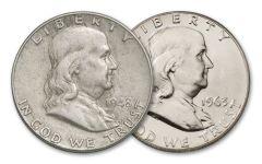 1948 & 1963 Franklin Silver Half Dollar First & Last Set XF–BU