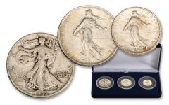 1898–1947 France/USA Francs & Walking Liberty 3-pc Set F–VF