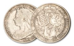1893–1901 Great Britain 1 Florin/2 Shillings Silver Queen Victoria F–VF