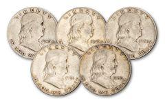 1948–1952 Franklin Silver Half Dollar 5-pc Set F–VF