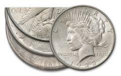 1923-PDS Peace Silver Dollar 3-pc Set BU
