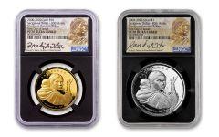 2020 Smithsonian 1-oz Silver & Gold Sacajawea Proof NGC PF70 2-pc Set w/Teton Signature