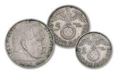 1934–1937 Nazi Germany Hindenburg 2 & 5 Silver Reichsmark 2-pc Set XF