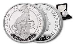 2021 Great Britain £2 1-oz Silver Queen's Beasts White Greyhound of Richmond Proof