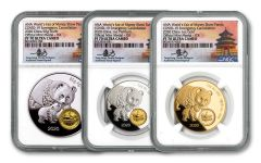 2020 China ANA Show Panda Proof 3-pc Proof Set NGC PF70UC First Day of Issue w/Tong Signature
