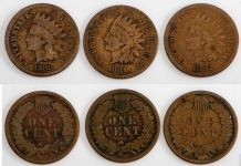 1880–1882-P Indian Head Cent 3-pc Outlaw Set G–VG
