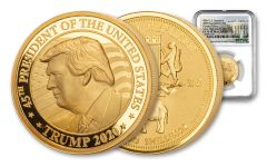 Somalia 2020 1-oz Gold Trump Ultra High Relief NGC PF70 First Day of Issue White House Label