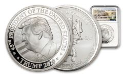 2020 Somalia 2-oz Silver Donald Trump Ultra High Relief Proof NGC PF70 First Day of Issue w/White House Label