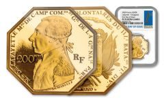 2020 France €200 1-oz Gold Lafayette Octagonal Proof NGC PF70UC First Day of Issue