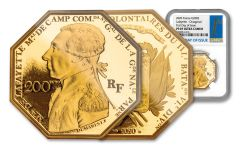 2020 France €200 1-oz Gold Lafayette Octagonal Proof NGC PF69UC First Day of Issue