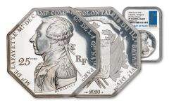 2020 France €25 2-oz Silver Lafayette Octagonal Proof NGC PF70UC First Day of Issue