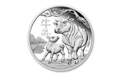 2021 Australia 50₵ 1/2-oz Silver Lunar Year of the Ox Proof