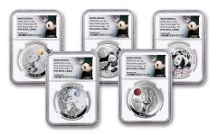 2020 China 1-oz Silver Moon Festival Panda 5-pc Legacy Proof Set NGC PF70UC