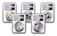 2020 China 2-oz Silver Moon Festival Panda 5-pc Legacy Proof Set NGC PF70UC