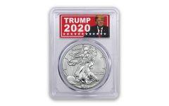 2020-W 1 Dollar 1-oz Burnished Silver Eagle PCGS SP70 w/Trump Label