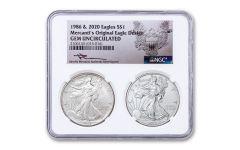 2PC 1986-20 $1 SILVER EAGLE NGC GEM UNC MERC 2COIN