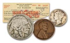 1938 Minimum Wage 8-pc Set VG–VF w/Scrip Note