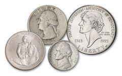 1931–1993 Washington & Jefferson Famous Presidents 4-pc Set XF–BU
