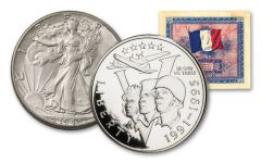 1943–1993 Walking Liberty and WWII Commemorative Half Dollar 2-pc Set w/AMC Note