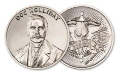 Intaglio Mint 1-oz Silver Wild West Legends Doc Holliday Medal BU