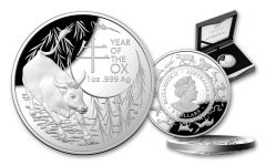 2021 Australia $5 1-oz Silver Lunar Year of the Ox Dome Proof