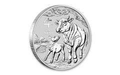 2021 Australia $1 1-oz Silver Lunar Year of the Ox BU