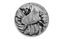 2021 Australia $1 1-oz Silver Great White Shark BU