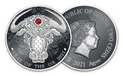 2021 Ghana 2 Cedis 1/2-oz Silver Lunar Year of the Ox Proof