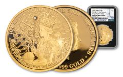 2020 Niue $1 1-oz Gold Queen Elizabeth II Long May She Reign Proof NGC PF70UC First Releases w/ Black Core
