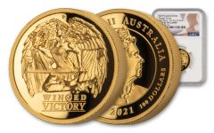 2021 Australia $100 1-oz Gold Winged Victory High Relief NGC PF70UC First Day of Issue w/Flag Label & Mercanti Signature