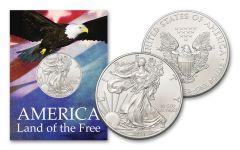 2021 $1 1-oz American Silver Eagle BU Land of the Free Card