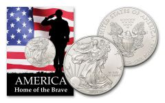 2021 $1 1-oz American Silver Eagle BU Home of the Brave Card