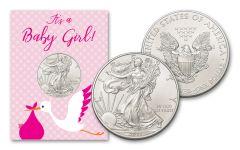 2021 $1 1-oz American Silver Eagle BU Baby Girl Card